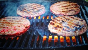 meat grilling on a grill